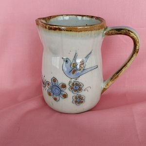 Other - Hand Thrown Pottery Pitcher Hand Painted Birds